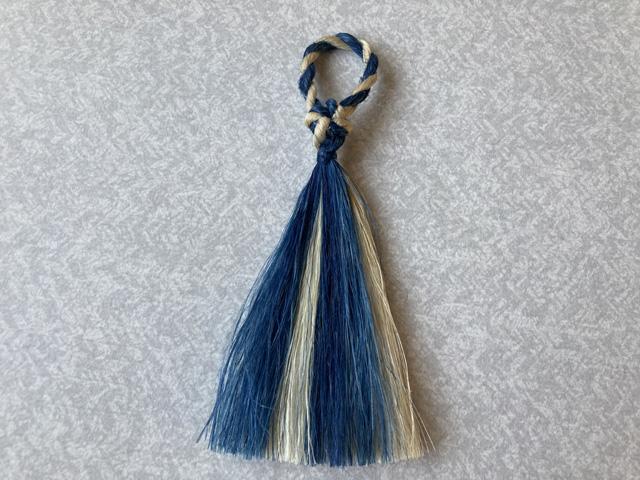 同・叶結びアクセサリーの藍染め版