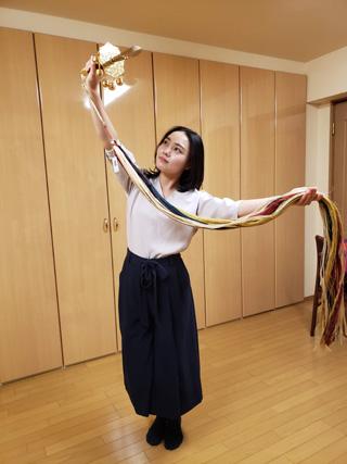 鉾先鈴、国産精麻の五色緒(草木染め)で浦安の舞の練習中。