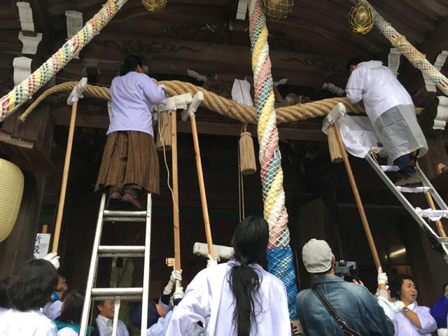 徳島・大麻比古神社(神麻しめ縄奉納式)掛け替え